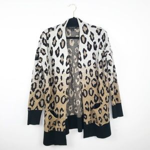 Ann Taylor leopard printed cardigan open front
